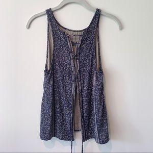 American Eagle Tie Back Patterned Tank Top